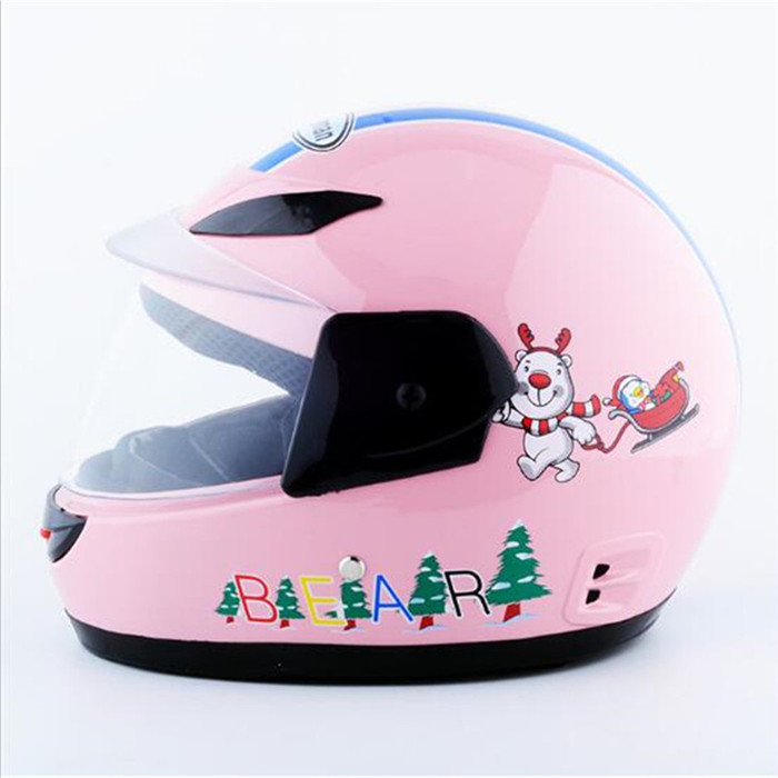 Pink Full Face Children Motorcycle Helmet Crashworthy Craniacea Sports Kids Motorcycle Helmet For Bike Riding With Neckerchief