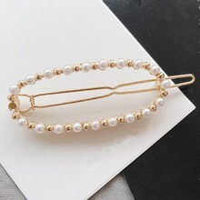 1 PC Geometric Round Oval Rectangle Love Triangle Bow Hair Clips Imitiation Pearls Hairpins Barrette Accessories