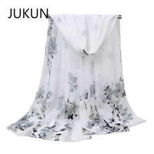 Womens Chiffon Scarf in Autumn and Winter New Style Plum Printed Silk Sunscreen Shawl