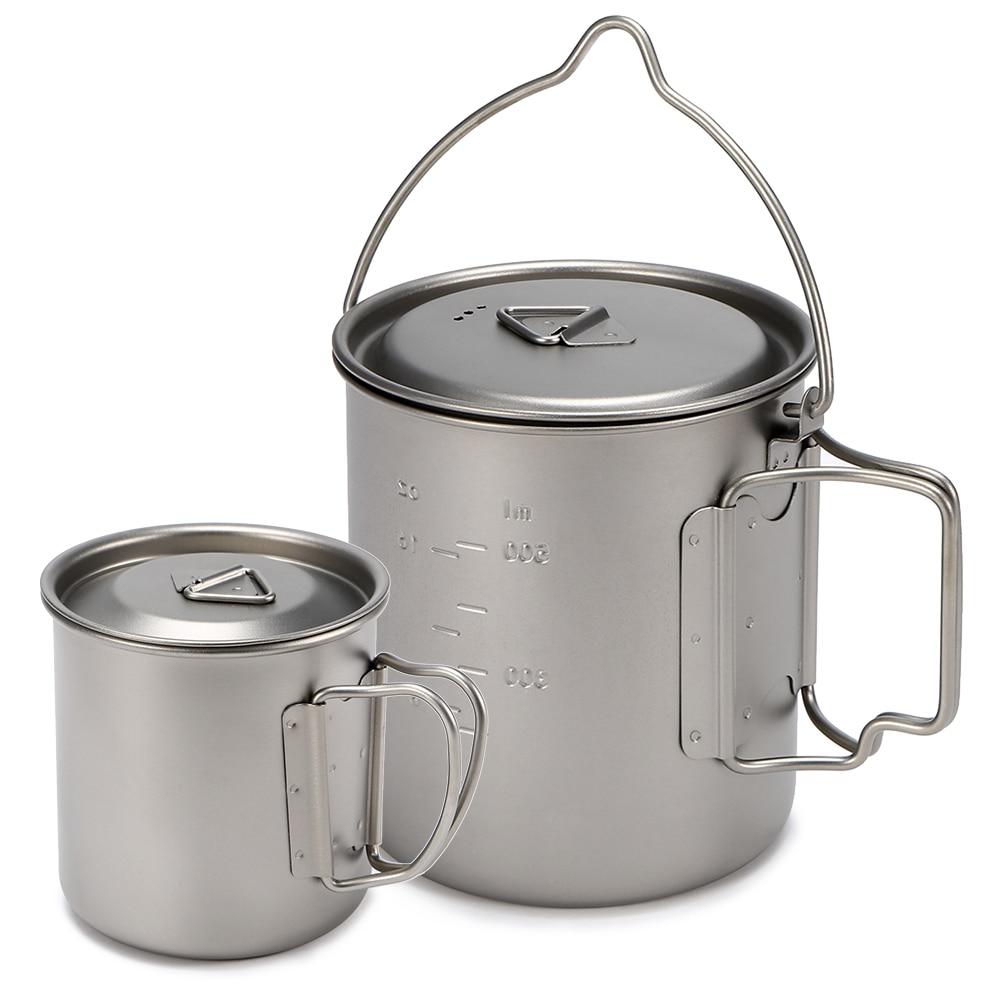 /Tasse en titane ultralégère ensemble de casseroles de Camping en plein air avec poignée pliable 450ml + 750 ml/400 ml + 750ml