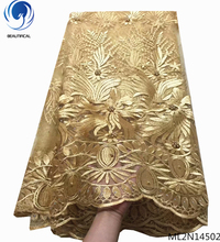 BEAUTIFICAL gold african bridal lace fabric embroidered nigerian net fabrics with beads hot sale free shipping ML2N145