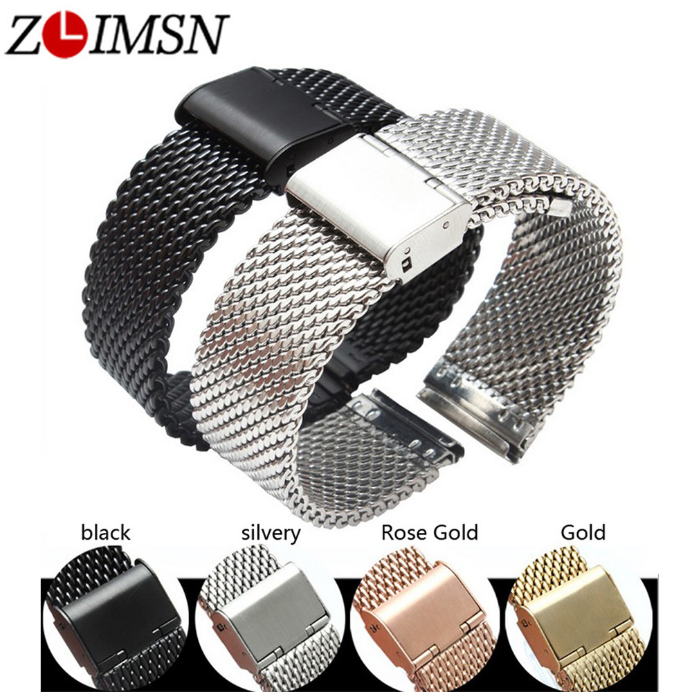 ZLIMSN Milan Watchbands Replacement 20 22 24mm Silver Gold Rose Gold Black Watch Bracelets Stainless Steel