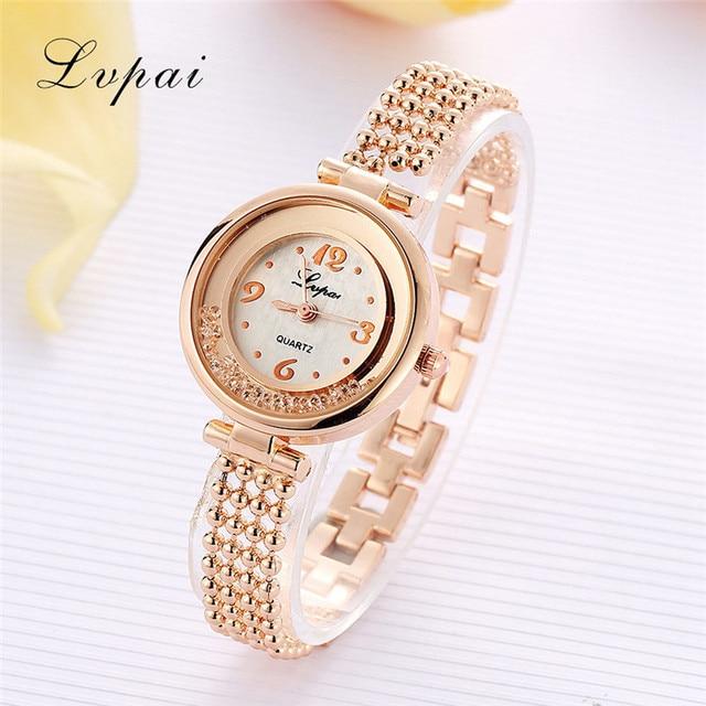 Lvpai Fashion Women Bracelet Watch Luxury Ladies Stainless Steel Rhinestone Quar