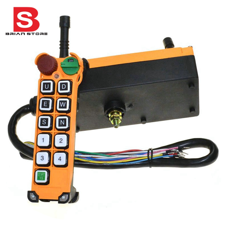12-24VDC 10 Channel 1 Speed Hoist Crane Truck Radio Remote Control System with Emergency-Stop