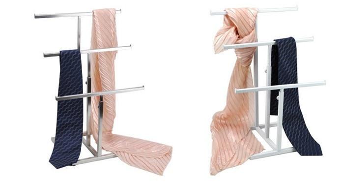Clothing props store dressing fixed metal scarf tie hook rack shelf desktop display