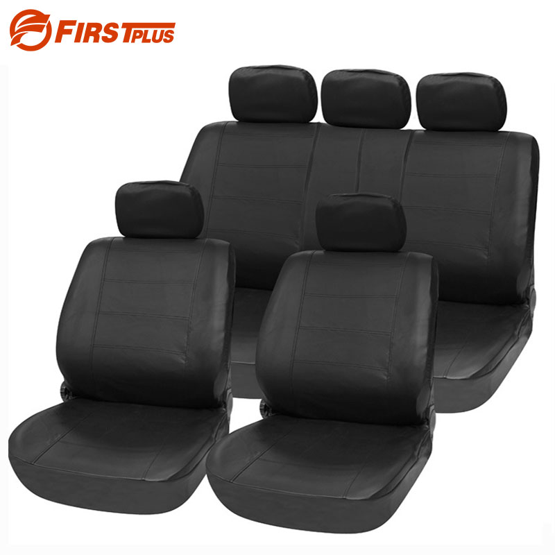 Universal PU Leather Car Seat Covers Front Back Seat Cushion Cover Auto Chair Pad Car Interior Accessories - Black