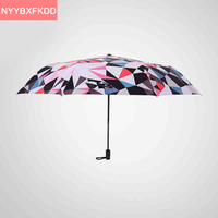 2016 New Style Of Colorful Personality Geometric Sun Umbrella Three Folding Black Glue Parasol UV Paraguas