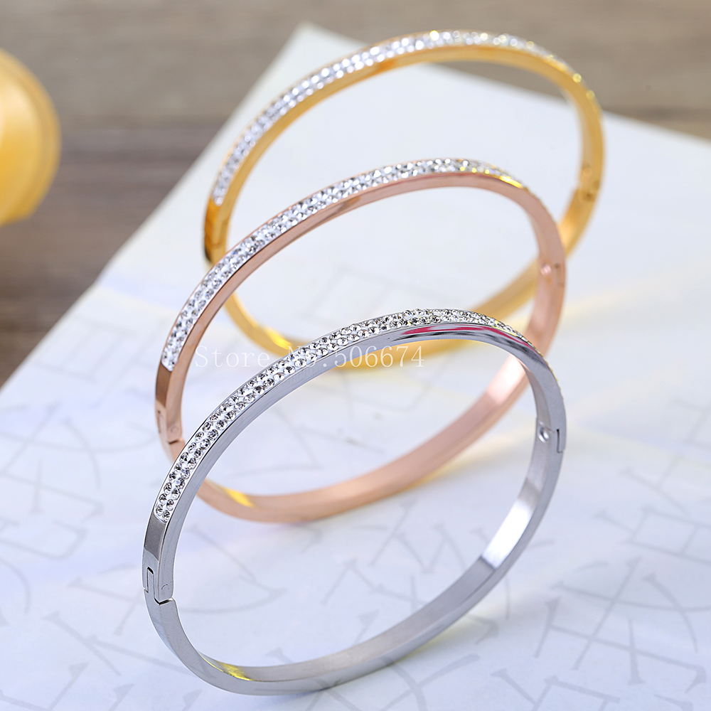 gratis geregistreerde 2018 Fashion AAA Rhinestone Stainless Steel Bangle Opened For Women Jewelry Bracelet Top Quality Factory