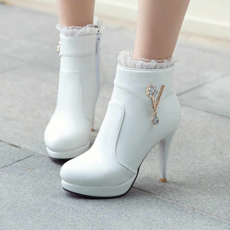 PXELENA Sexy Design Ruffles Crystal Bride Wedding Ankle Boots Women Shoes  White Beige Black Stiletto High 09def9c110db
