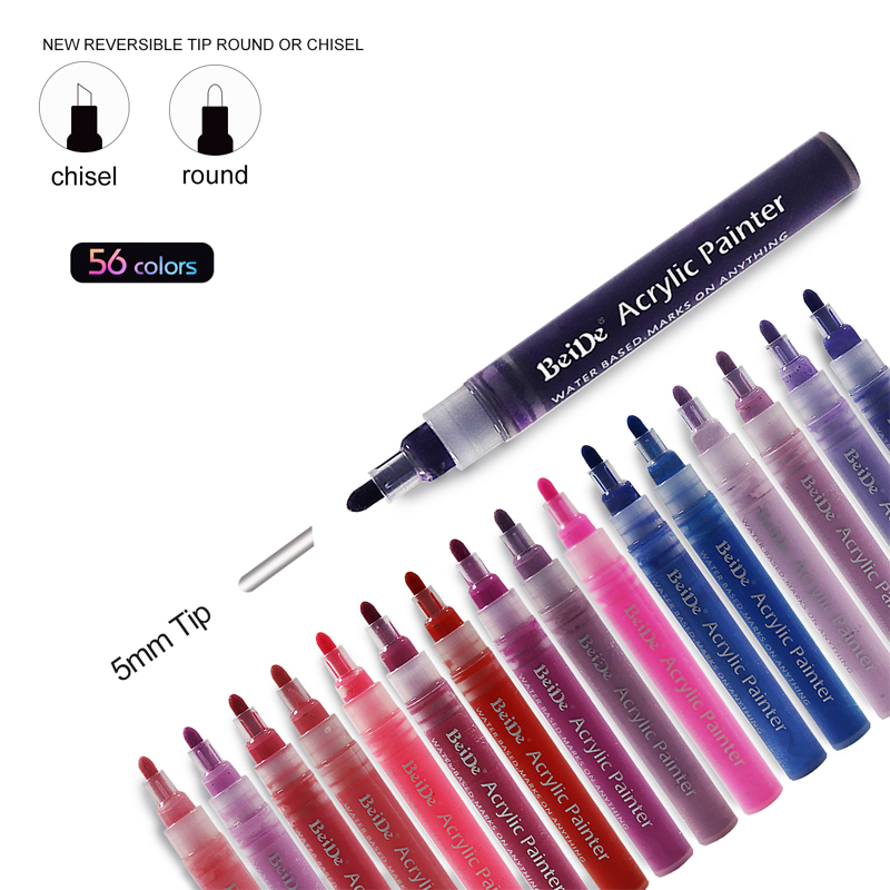Acrylic Paint Markers, 56 Colors Extra Fine Point Pens Set by Smart Color Art, Permanent Water Based