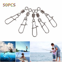 50pcs/lot Fishing Ball Bearing Rolling Swivel Steel Alloy With Snap Fishhook Lure Connector Fish Hook Tackle