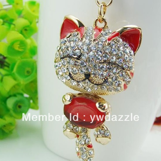 Jewelry & Accessories Genteel Big Size Crystal Metal Cat Keychain Novelty Souvenir Gifts Couple Key Chain Key Ring Hangbag Charms Pendant Chaveiros Carro To Be Distributed All Over The World Key Chains