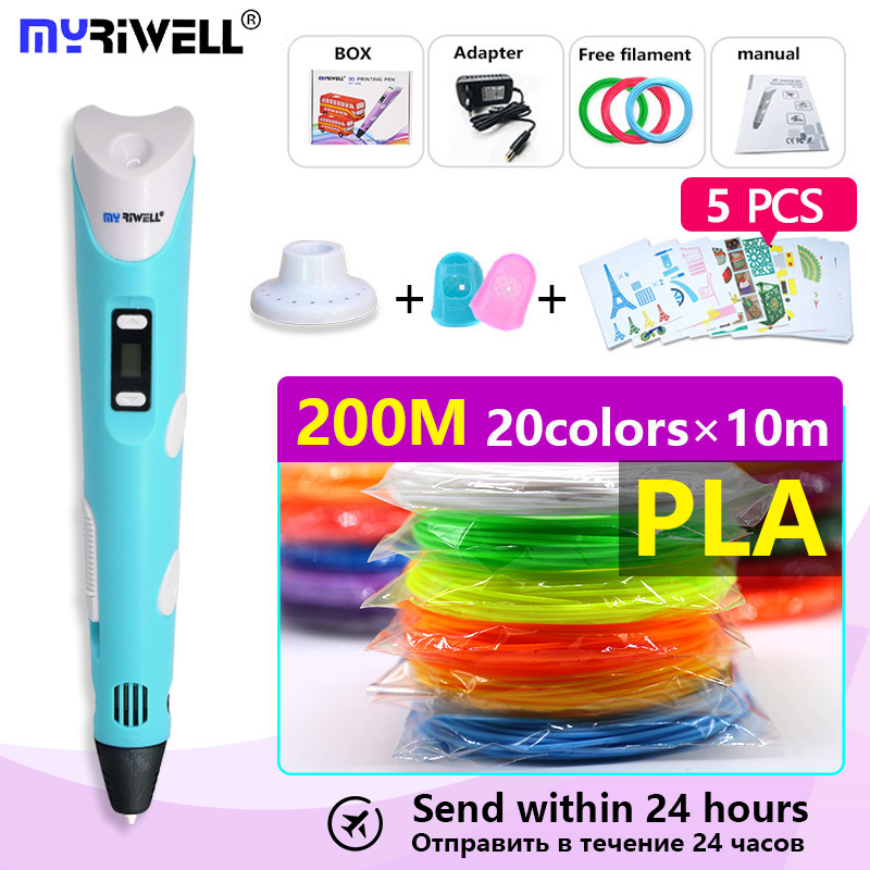 myriwell 3D Pen + PLA200M Filament 3D Printing Pen 3D Creative Toy Gift For Kids Drawing 1.75mm ABS/PLA fast sent