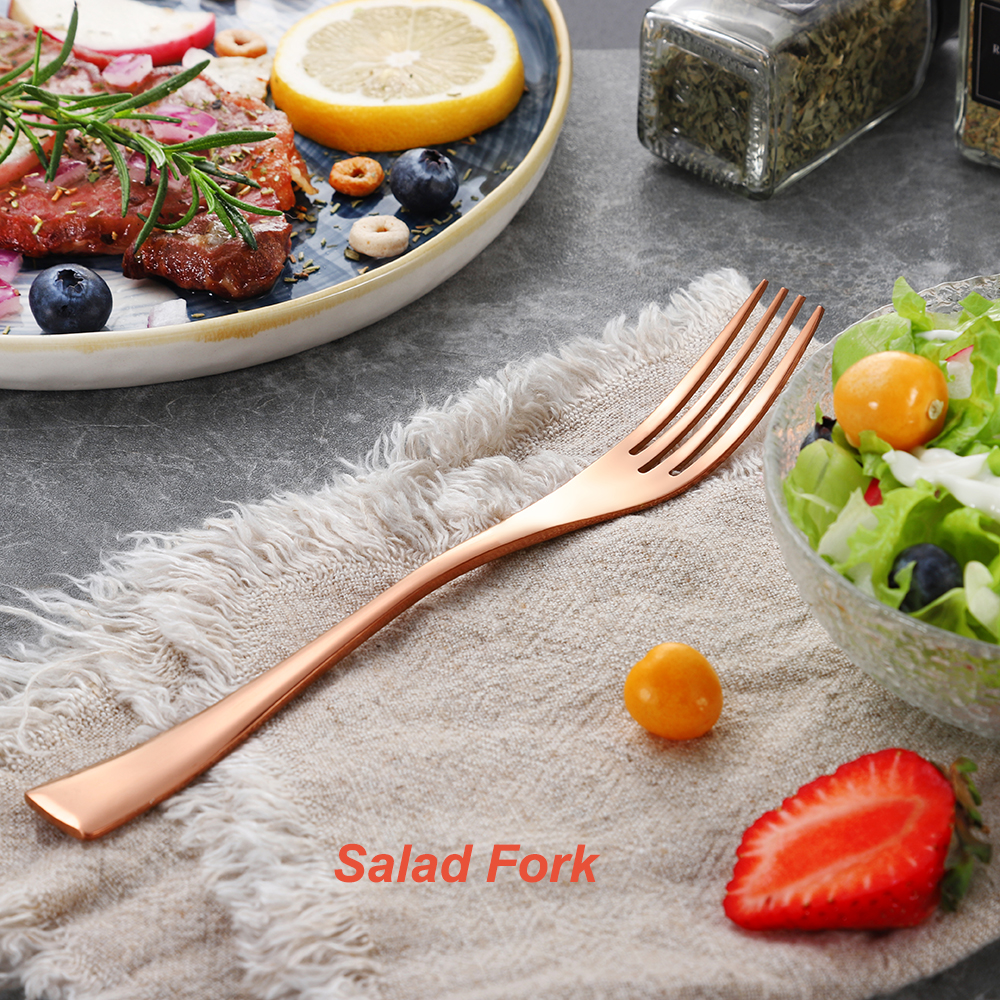20Pcs/set Stainless Steel Black Rose Gold Cutlery Set Dinnerware Tableware Silverware With Salad Dessert Fork Drop Shipping 6