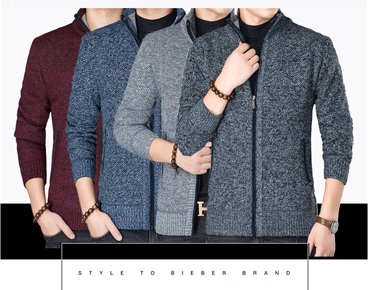 HTB1nizBXZnrK1RjSspkq6yuvXXa7 Fashion Wind Breaker Jackets Men Stand Collar Thicken Fleece Jacket Solid Knit Overcoat Cardigan Male Coat Brand Men's Clothing