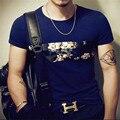 Moda de verano 2017 Para Hombre de la Camiseta Ocasional Del Remiendo de Manga Corta T camisas Hombres de Impresión de Flores Aptitud Delgado Hip Hop Camiseta de Los Hombres Tops