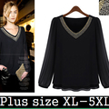 5XL New Women Autumn Black Casual V Neck Chiffon Office Lady  Blouse Shirt American Apparel Shirt Tops Tee blusas XXL XXXL 4XL
