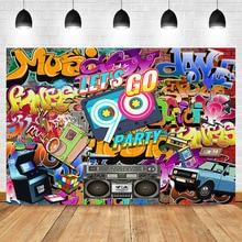 NeoBack 90s Theme Party Backdrop Hip Hop Graffiti Wall Photo