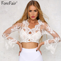 New Fashion Floral Embroidery Organza Crop Top Women Sexy See-Through Dew Navel Long Flare Sleeve Ladies Black White Lace Tops