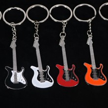 New Design Classic Guitar Keychain Car Key Chain Key Ring Musical Instruments silver pendant For Man Women Gift wholesale(China)
