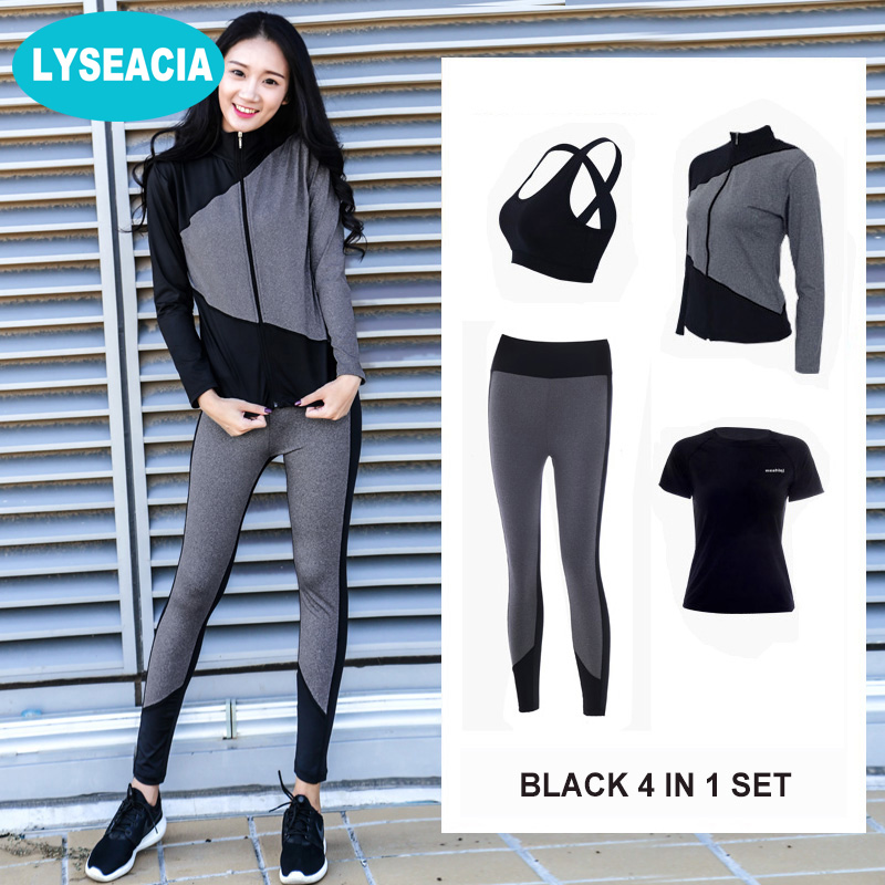 LYSEACIA Breathable Sportswear Women Yoga Fitness Suit Patchwork Plus Size Sport Bra Shirt Zipper Jacket Tights 4 IN1 Sports Set lyseacia breathable sport suit women fitness suit yoga bra long sleeeve hoodies running yoga t shirt sports leggings sportswear