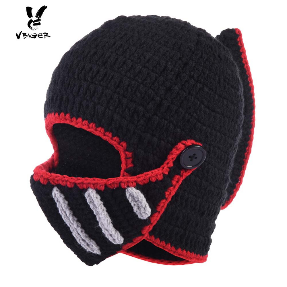 VBIGER Women Men Skullies Beanies Wool Rome Knights Wool Knit Cap Hat Winter Cap Balaclava Halloween Hat with Removable Mask skullies