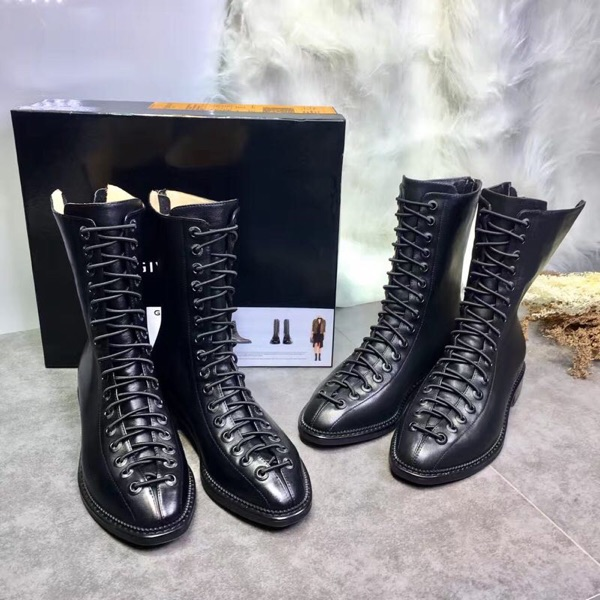 2017 Hot Autumn Winter Shoes Woman Black Leather Boots Lace Up Back Zip Designer Western Knight Boots Mid-Calf Tide Woman Shoes