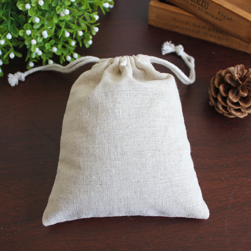 "100pcs Small Linen Drawstring Gift Bags 8x10cm (3""x4"") Wedding Party chocolate Favor Holder Cotton Mulin Jewelry Packaing Pouch"