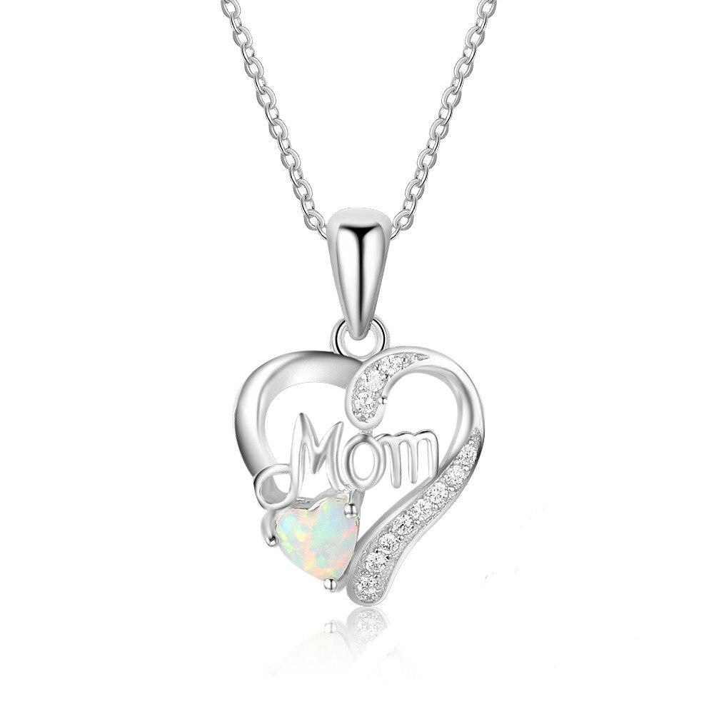 AMORUI fuego caliente amor del corazón de ópalo collares para las mujeres regalo del día de madre plateado AAA CZ piedra COLLAR COLGANTE Dropshipping