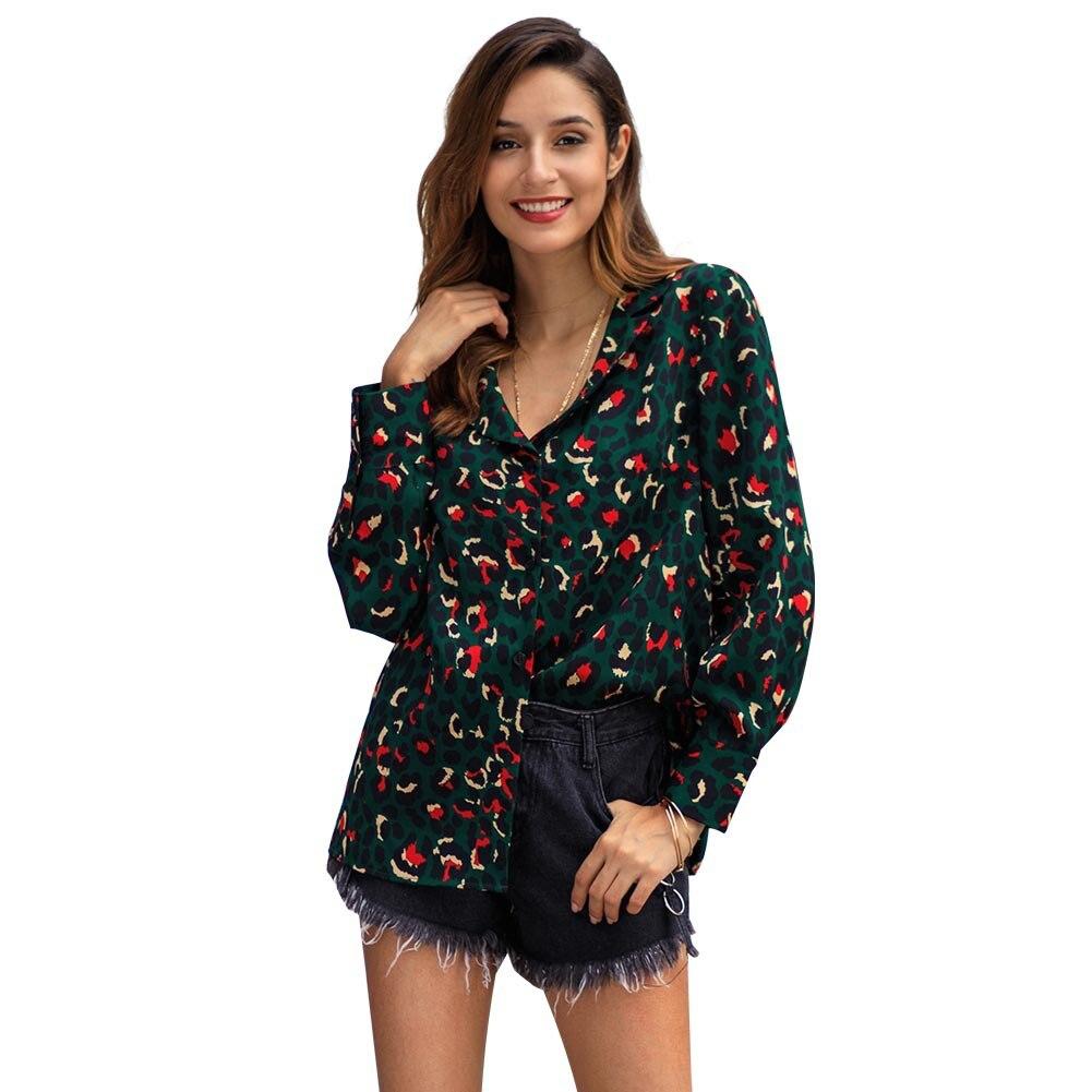 Print Leopard Blouse Fashion Women Long Sleeve Turn Down Collar Shirt Ladies OL Green Top Streetwear Blusas Femininas Elegante in Blouses amp Shirts from Women 39 s Clothing