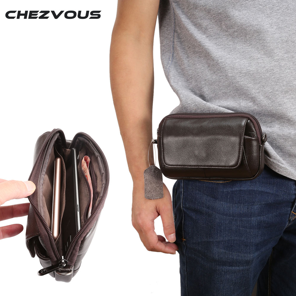100% <font><b>Genuine</b></font> <font><b>Leather</b></font> Waist Bag for <font><b>iphone</b></font>/Samsung Smart Phone Shoulder Bag Belt Pouch for Below 6.5inch Mobile Phones <font><b>Case</b></font> image