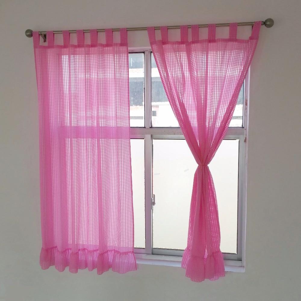 Simple window curtains - High Quality Western Simple Lattice Lotus Leaf Hem Organza Living Room Window Curtains A Pair