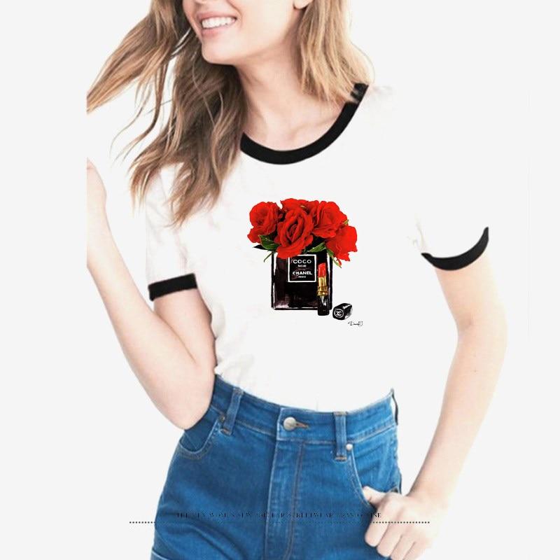 2018 harajuku   t     shirt   women Flower Perfume   t  -  shirt   woman summer short sleeves Casual female   t     shirts   plus size tops tees tshirts