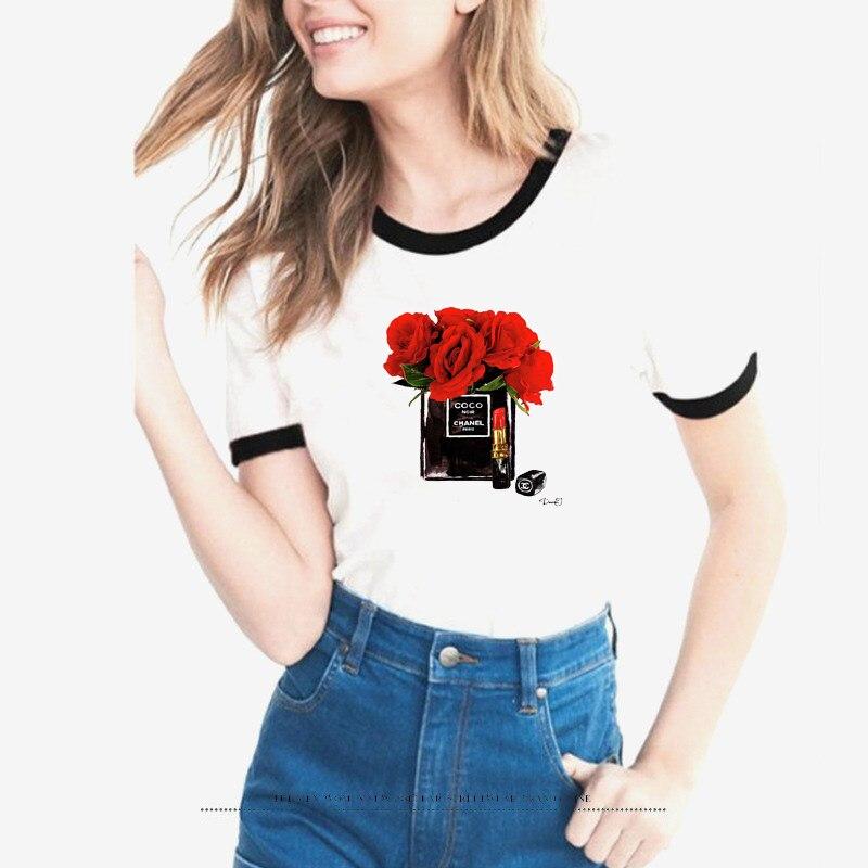 2018 harajuku t shirt women Flower Perfume t-shirt woman summer short sleeves Casual female t shirts plus size tops tees tshirts