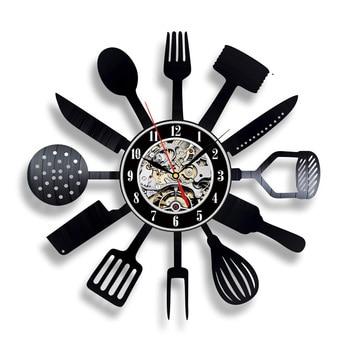 Reloj de pared de vinilo, diseño moderno, cuchillo de cocina decorativo y  tenedor, relojes colgantes, reloj de pared, decoración del hogar, ...