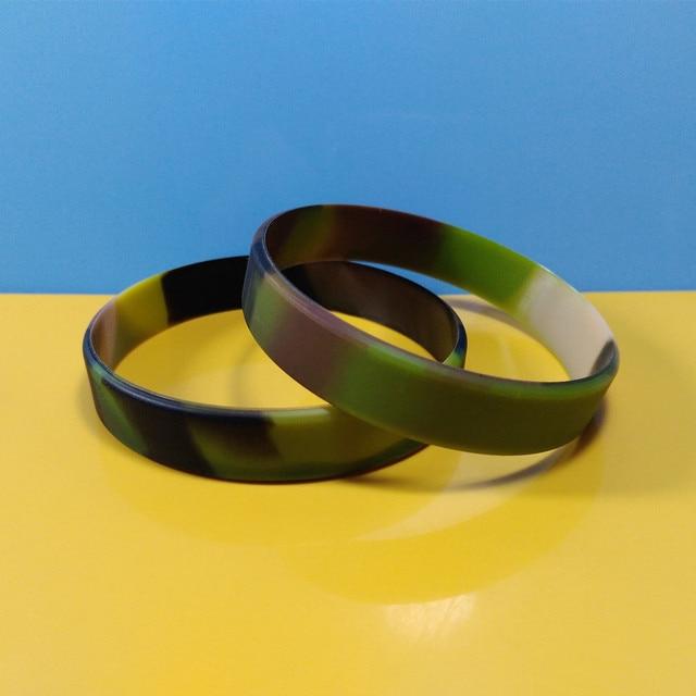 Camo Desert Rainbow Silicone Wristbands Swirl Color Bracelets