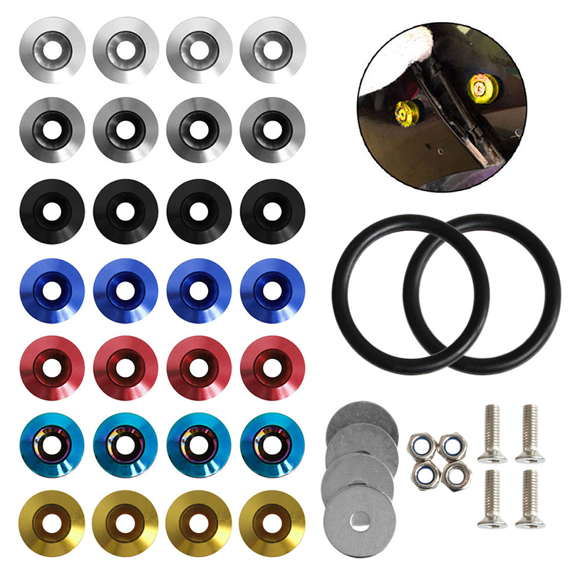 Hot Quick Release Fasteners Kit For Car Bumpers Trunk Fender Hatch Lids Blue
