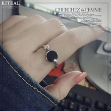 Kiteal Korean Personality Simple Geometric Hipster Ring For Women Round Black epoxy Opening resizable Silver Rings S-R349 925