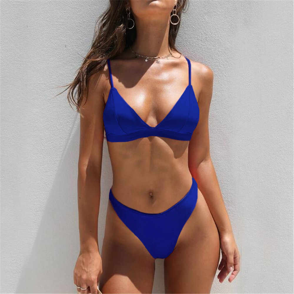 2020 Summer Swimwear Women Two Pieces Bikini Set Solid Padded Push Up Swimwear Swimsuit Pool badeanzug damen New Arriva