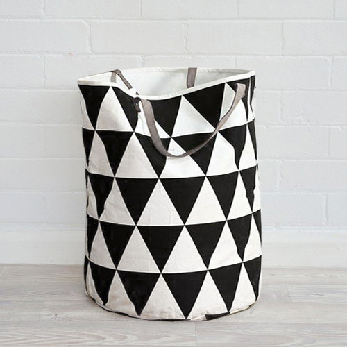 Black White Triangle Baby Toys Geometric Patterns Storage Canvas Bags  Handle Ear Clothes Bag Laundry Pouch