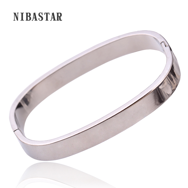 Colorful Square Bangle 2016 New Arrival Women Tension Setting Bracelets Stainless Steel Unique Jewelry