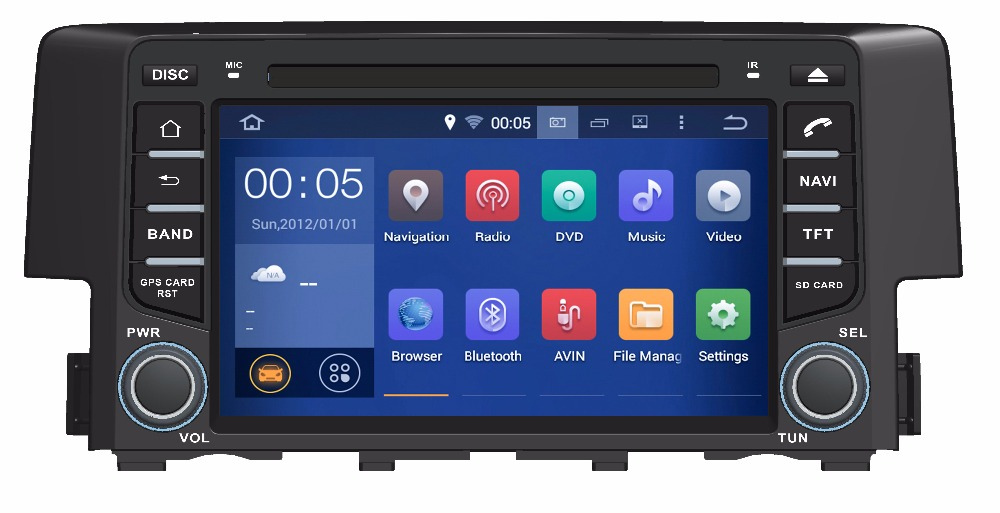 GIFTS ROM 16G Quad Core Android 7.1 Fit HONDA CIVIC 2016 2018 CAR DVD PLAYER Multimedia Navigation GPS DVD STEREO RADIO NAVI