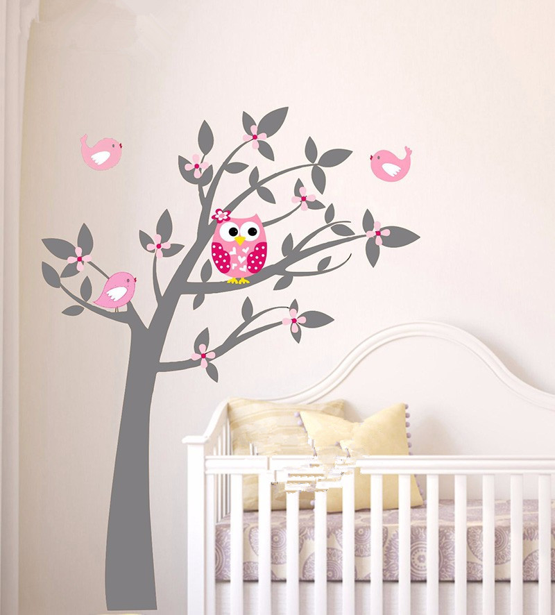 B18 owl birds vinyl wall stickers tree branches art decals for Baby room wallpaper