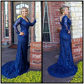 Laço do vintage Plus Size Vestido do Baile de finalistas 2016 V Pescoço Longo Manga Vestidos de Baile Azul Royal Mermaid V Voltar Bonita Vestidos de Festa PL26