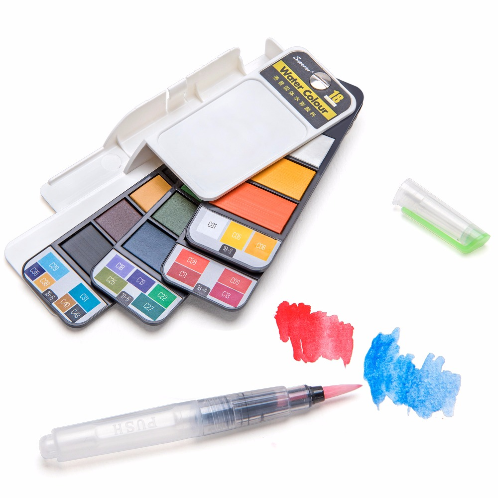 Superior 18Color Solid Watercolor Set Collapsible Water Color Paint with Water Brush Creative Watercolor Pigment Set For Drawing van gogh 24 colors solid watercolor pigment with nature sponge and paintbrush plastic case water color paint art supplies