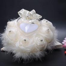 Decoraciones de boda Chic flores en forma de corazón regalo de San Valentín anillo almohadilla anillo de alfiletero decoración de fiesta matrimonio
