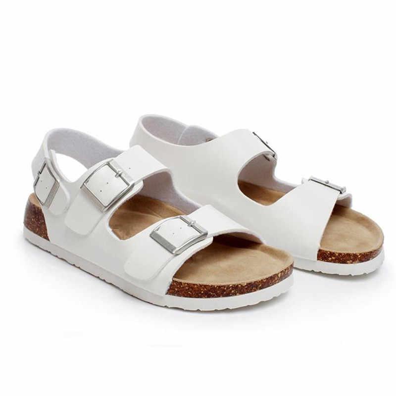 COSMAGIC 2019 nuevas Sandalias de corcho de playa de verano planas con mujeres informales fuera antideslizante negro blanco doble hebilla Sandalias zapato