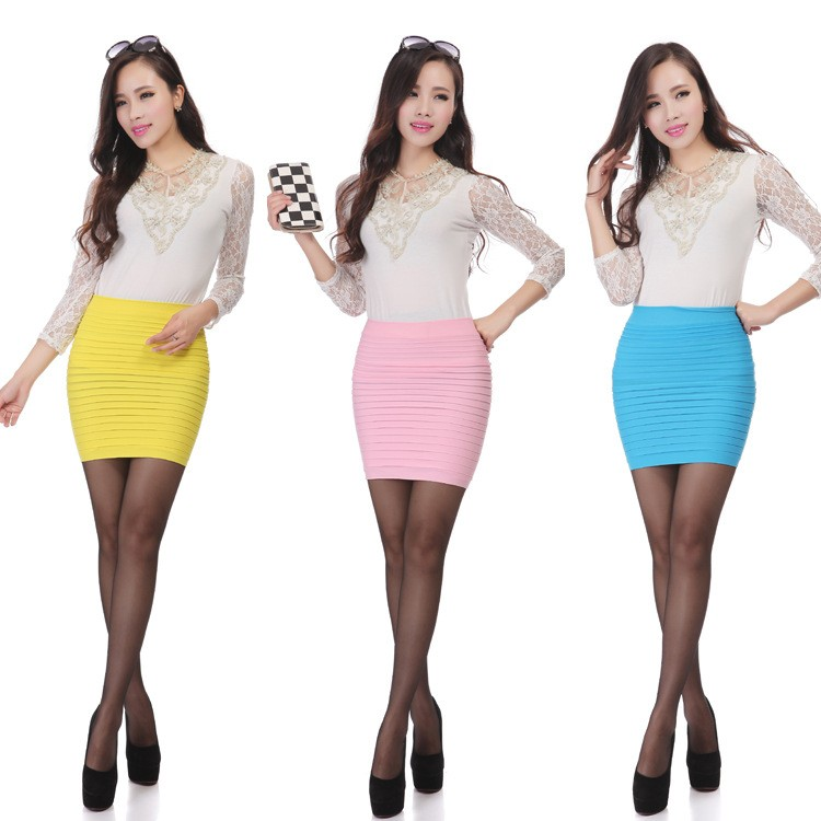 HTB1nj05KFXXXXaCXFXXq6xXFXXXY - Cheapest New Fashion Summer Women Skirt High Waist Candy Color Plus Size Elastic Pleated Sexy Short Skirt