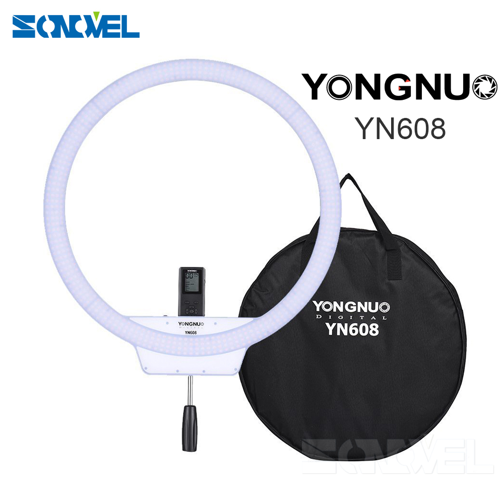 YongNuo YN608 Annular Selfie Ring Light 3200K~5500K Bi-Color Temperature Wireless Remote LED Video Light CRI>95 with Handle Grip
