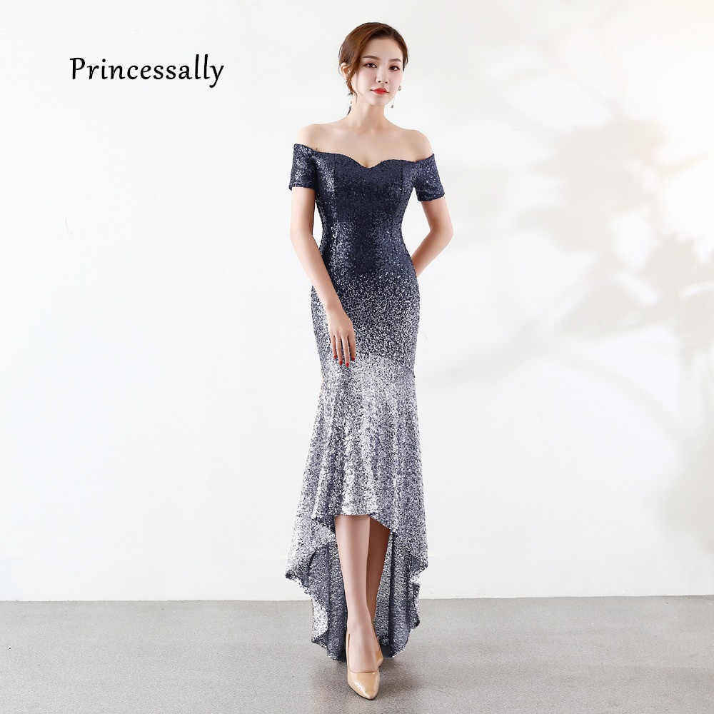 reputable site c999a 42576 New High Low Sequin Evening Dress Mermaid Short Front Long ...